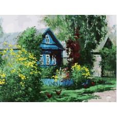 Картина-раскраска по номерам «Домик в деревне» 30*40 см