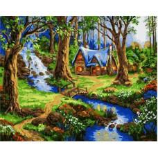 Картина-раскраска по номерам «Домик в сказочном лесу» 40*50 см
