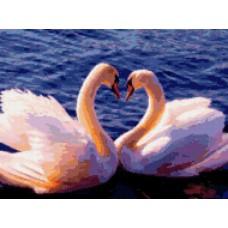 Алмазная мозаика «Два лебедя» 40*50 см