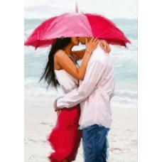 Картина-раскраска по номерам «Двое под красным зонтом» 40*50 см