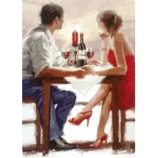 Картина-раскраска по номерам «Двое за столиком» 40*50 см