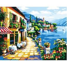 Картина-раскраска по номерам «Кафе на набережной» 40*50 см