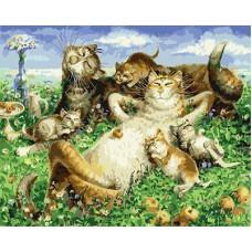 Картина-раскраска по номерам «Кошачья семья» 40*50 см