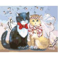 Картина-раскраска по номерам «Кошачья свадьба» 40*50 см