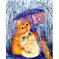 Картина-раскраска по номерам «Кошки под зонтиком» 40*50 см