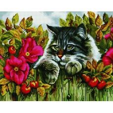Алмазная мозаика «Кот на заборе» 40*50 см