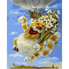 Картина-раскраска по номерам «Кот с ромашками» 40*50 см