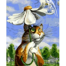 Картина-раскраска по номерам «Кот с ромашкой» 40*50 см