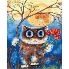 Картина-раскраска по номерам «Кот с тюльпанами» 40*50 см