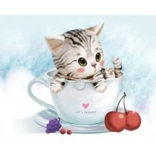 Алмазная мозаика «Котенок в чашке» 30*30 см