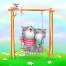 Картина-раскраска по номерам «Котята на качелях» 30*40 см