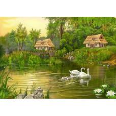 Картина-раскраска по номерам «Лебеди на пруду» 40*50 см