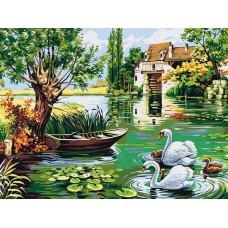 Картина-раскраска по номерам «Лебединая семья на пруду» 30*40 см