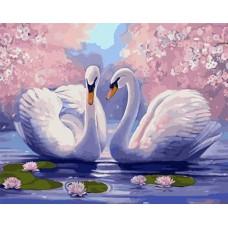 Картина-раскраска по номерам «Лебеди» 40*50 см