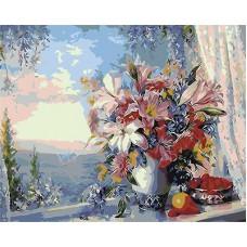Картина-раскраска по номерам «Лилии на окне» 40*50 см