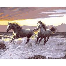 Картина-раскраска по номерам «Лошади на берегу моря» 40*50 см