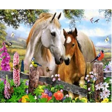 Картина-раскраска по номерам «Лошадки в цветах» 20*30 см