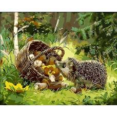 Картина-раскраска по номерам «Любопытный ежик» 40*50 см