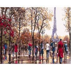 Картина-раскраска по номерам «Люди на фоне эйфелевой башни» 40*50 см