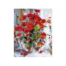 Картина-раскраска по номерам «Маки в прозрачной вазе» 40*50 см
