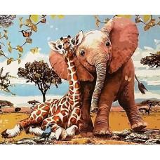 Картина-раскраска по номерам «Милые друзья» 40*50 см