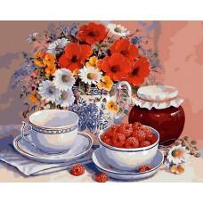 Картина-раскраска по номерам «Натюрморт с малиной» 30*40 см