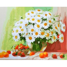 Картина-раскраска по номерам «Натюрморт с ромашками» 40*50 см