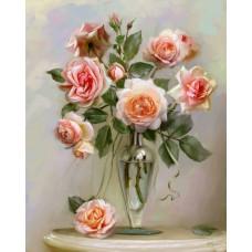 Картина-раскраска по номерам «Нежные розы в вазе» 40*50 см
