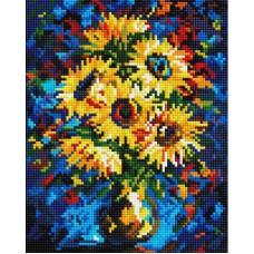 Алмазная мозаика «Ночные подсолнухи» 20*25 см
