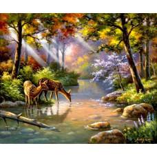 Картина-раскраска по номерам «Оленята» 40*50 см