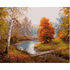 Картина-раскраска по номерам «Осенняя речка» 40*50 см