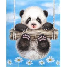 Картина-раскраска по номерам «Панда на качелях» 30*40 см