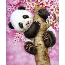 Картина-раскраска по номерам «Панда на сакуре» 30*40 см