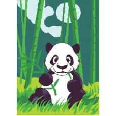 Картина-раскраска по номерам «Панда в бамбуковом лесу» 20*30 см