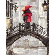 Картина-раскраска по номерам «Пара на мосту» 40*50 см