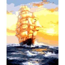 Картина-раскраска по номерам «Парусник на закате» 40*50 см