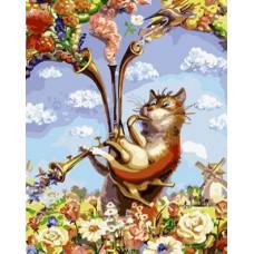 Картина-раскраска по номерам «Питерский кот с волынкой» 40*50 см