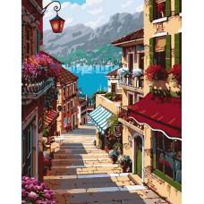 Картина-раскраска по номерам «Поселок Белладжио» 40*50 см