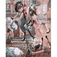 Картина-раскраска по номерам «Прогулка на самокатах» 40*50 см