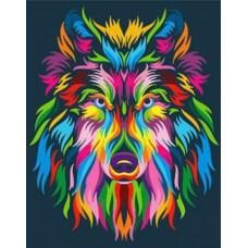 Картина-раскраска по номерам «Радужный волк» 40*50 см