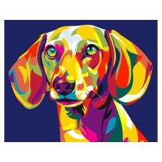 Картина-раскраска по номерам «Радужный пес» 30*40 см