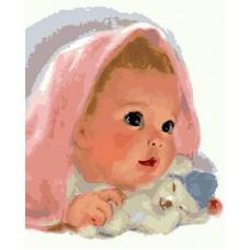 Картина-раскраска по номерам «Ребенок с игрушкой» 40*50 см