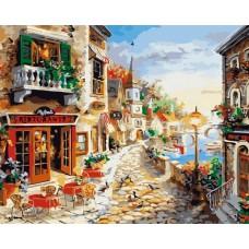 Картина-раскраска по номерам «Ресторан на набережной» 40*50 см