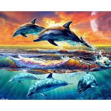 Картина-раскраска по номерам «Резвящиеся дельфины» 40*50 см