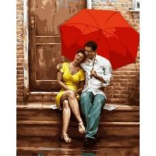 Картина-раскраска по номерам «Романтика под зонтом» 40*50 см