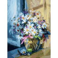 Картина-раскраска по номерам «Ромашковое утро» 30*40 см