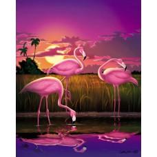 Картина-раскраска по номерам «Розовые фламинго в траве» 40*50 см