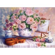 Картина-раскраска по номерам «Розы и скрипка» 30*40 см