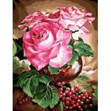 Картина-раскраска по номерам «Розы и ягоды» 40*50 см