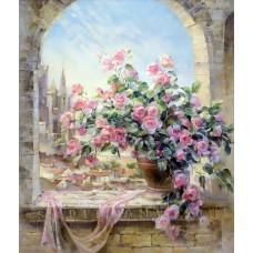 Картина-раскраска по номерам «Розы на окне» 40*50 см